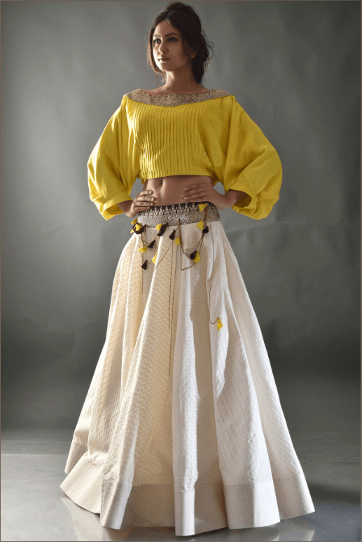 Yellow Beige Sequins Crop Top Lehenga
