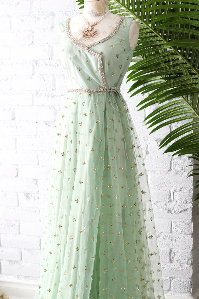 Mint Green Poppy Lane Wrap Gown