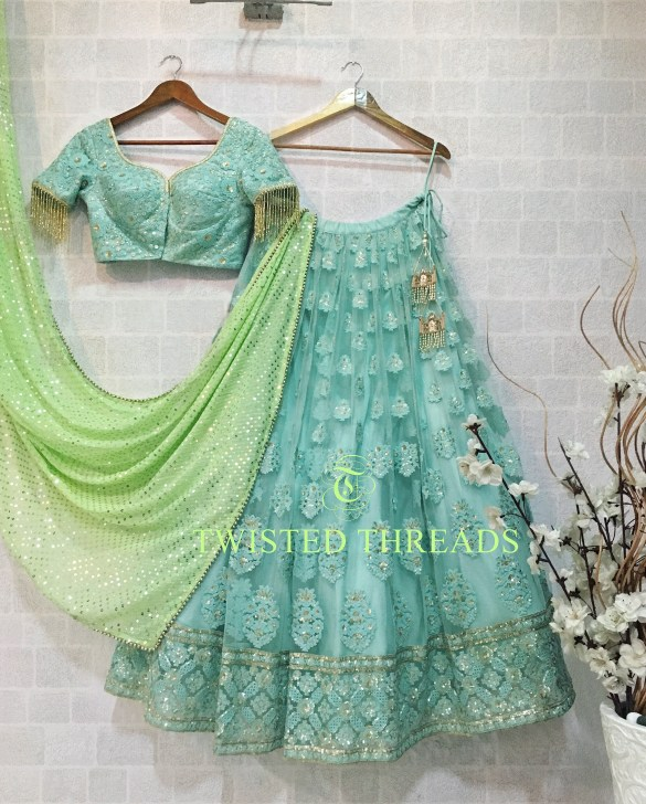Blue Green Twisted Threads Lehenga
