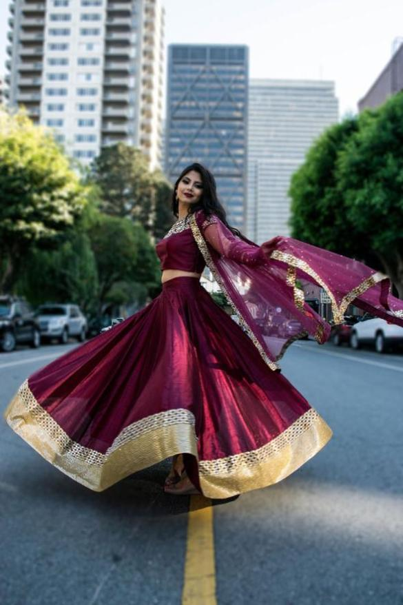 Wine Mirror Work Lehenga