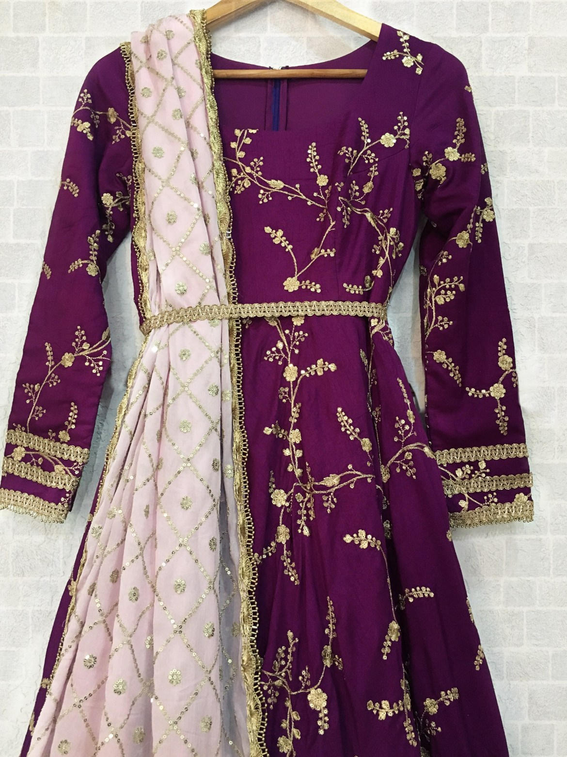 Deep Purple Twisted Threads Anarkali
