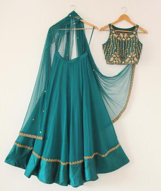 Teal Crop Top Lehenga