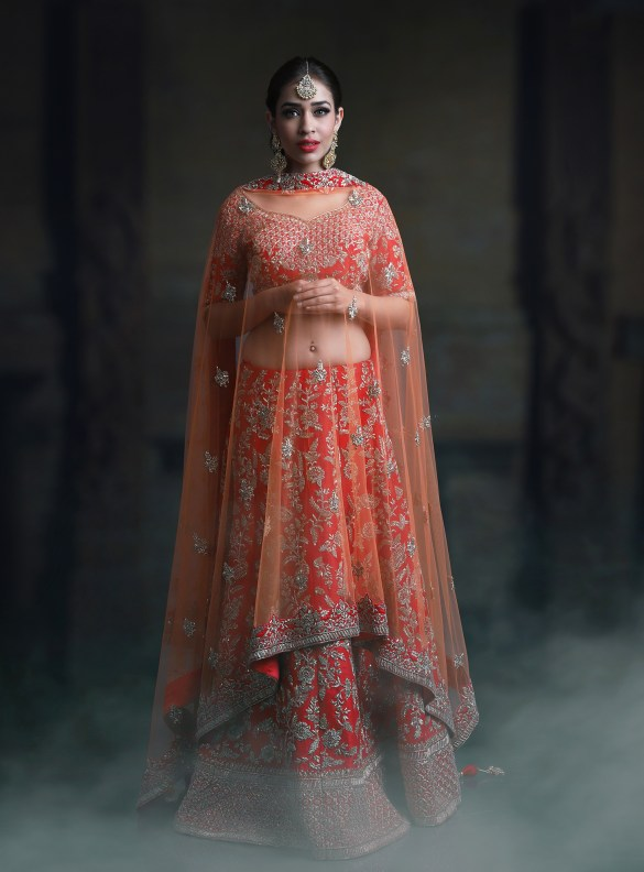 Red Silver Jaal Work Lehenga