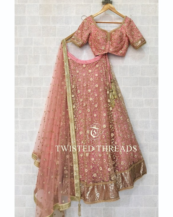 Rose Dust Gold Lehenga Twisted Threads