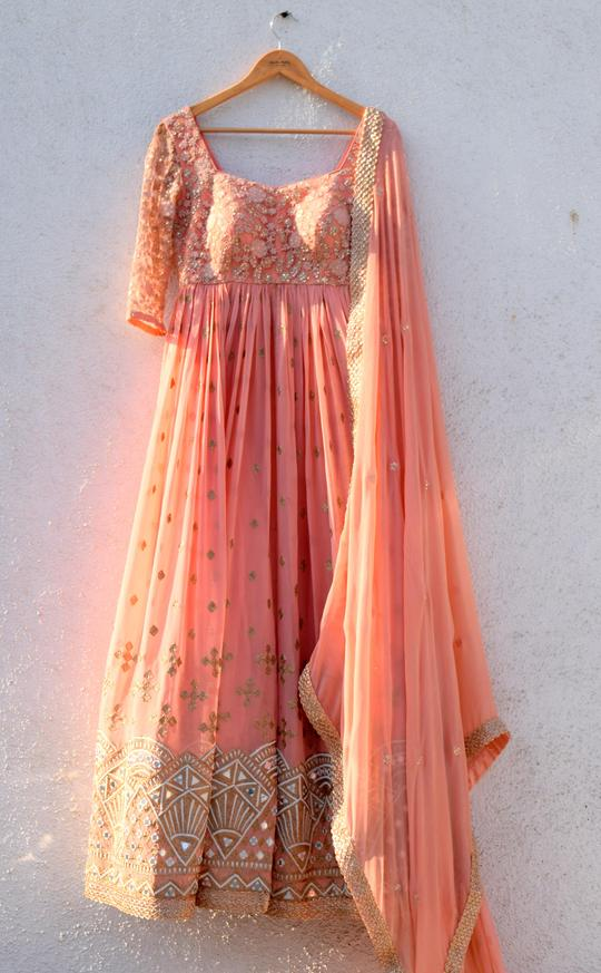 Peach Anisha Shetty Anarkali