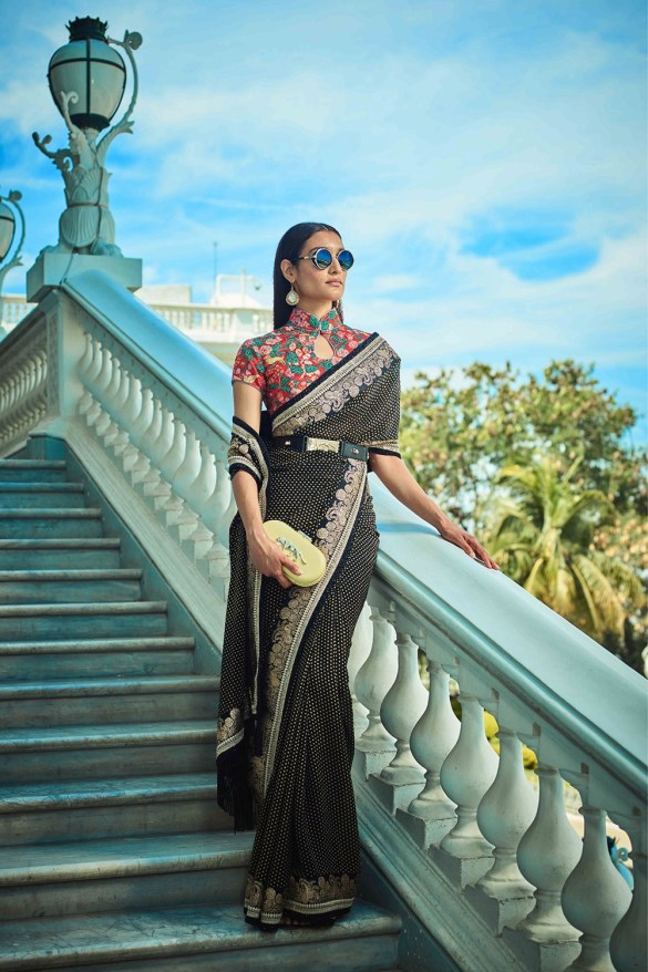 Chrome Black Printed Sabyasachi Saree