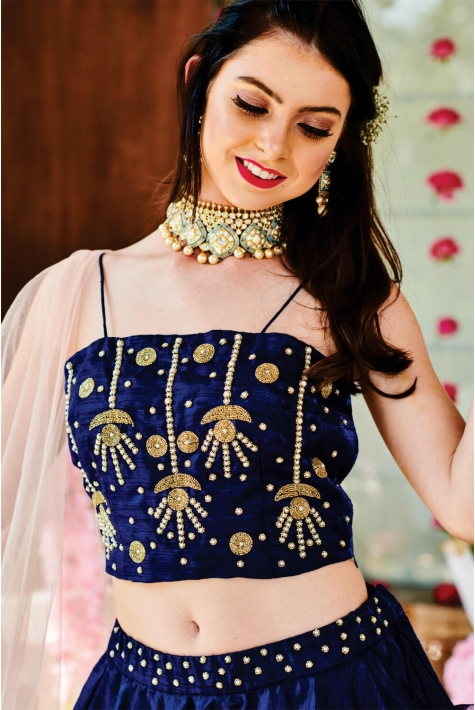 Blue Silk Hand Embroidered Lehenga