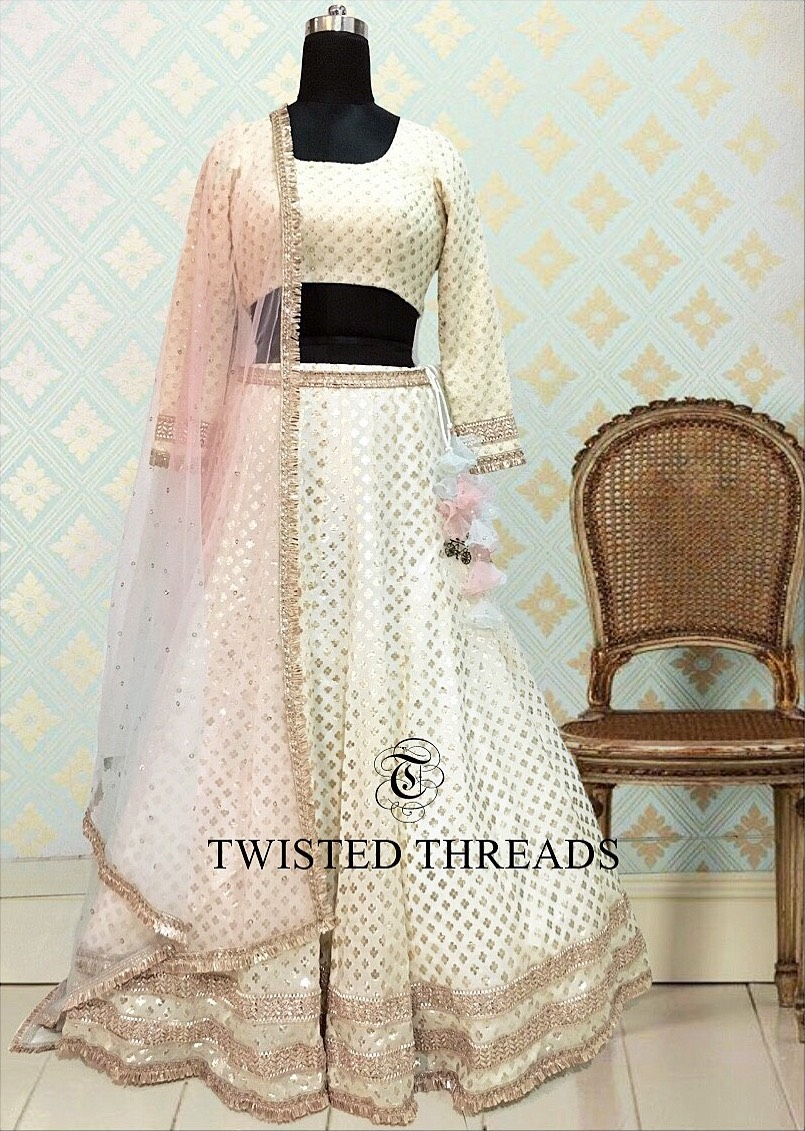 Ivory Georgette Twisted Threads Lehenga