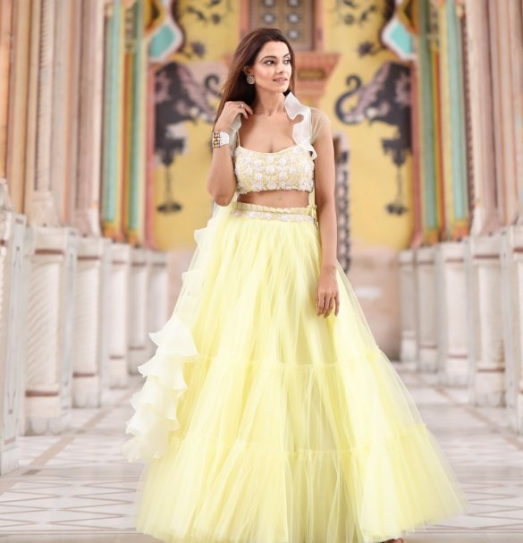 Lemon Yellow Krupa Jain Tulle Lehenga