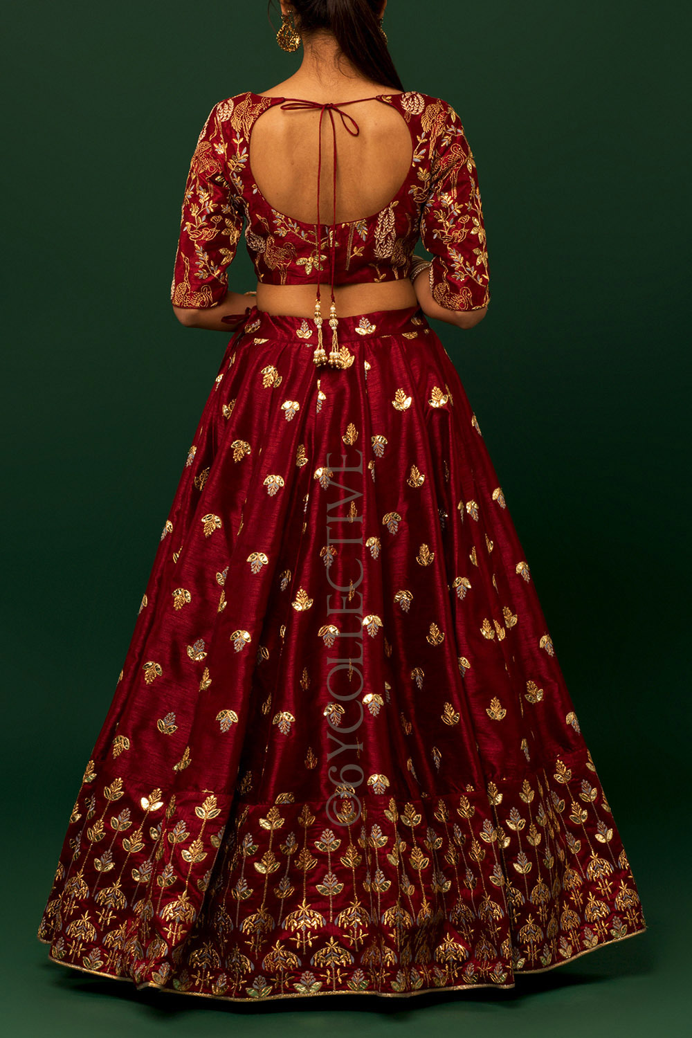 Burgandy Blue Kalira Embroidery Lehenga