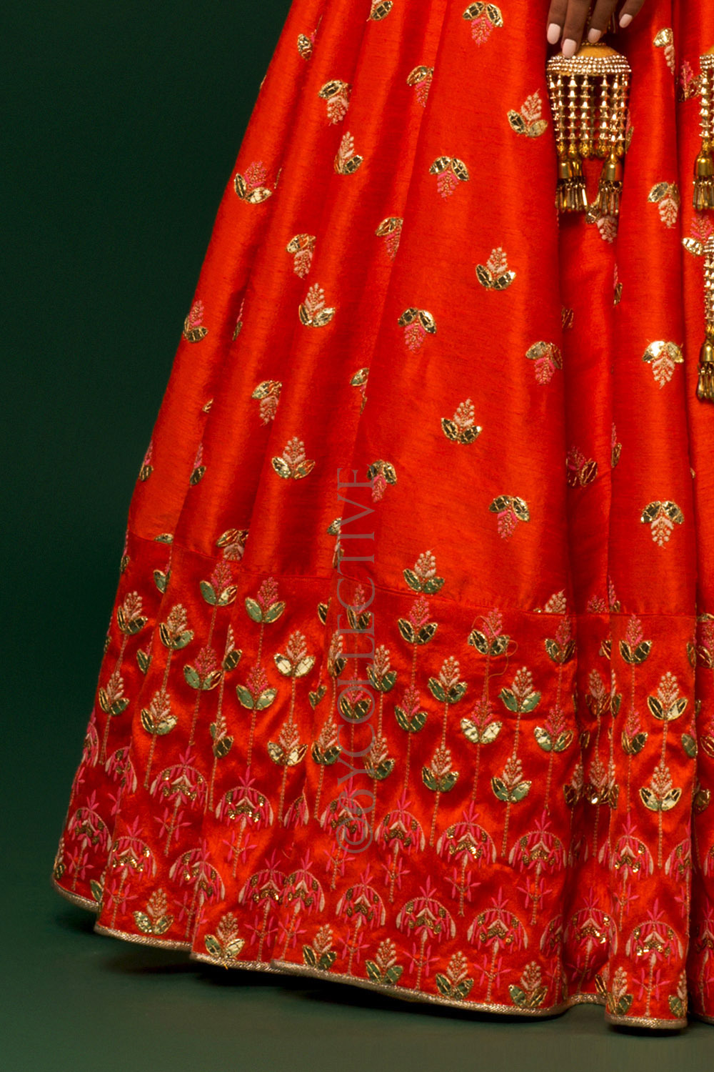 Orange Kalira Embroidery Lehenga