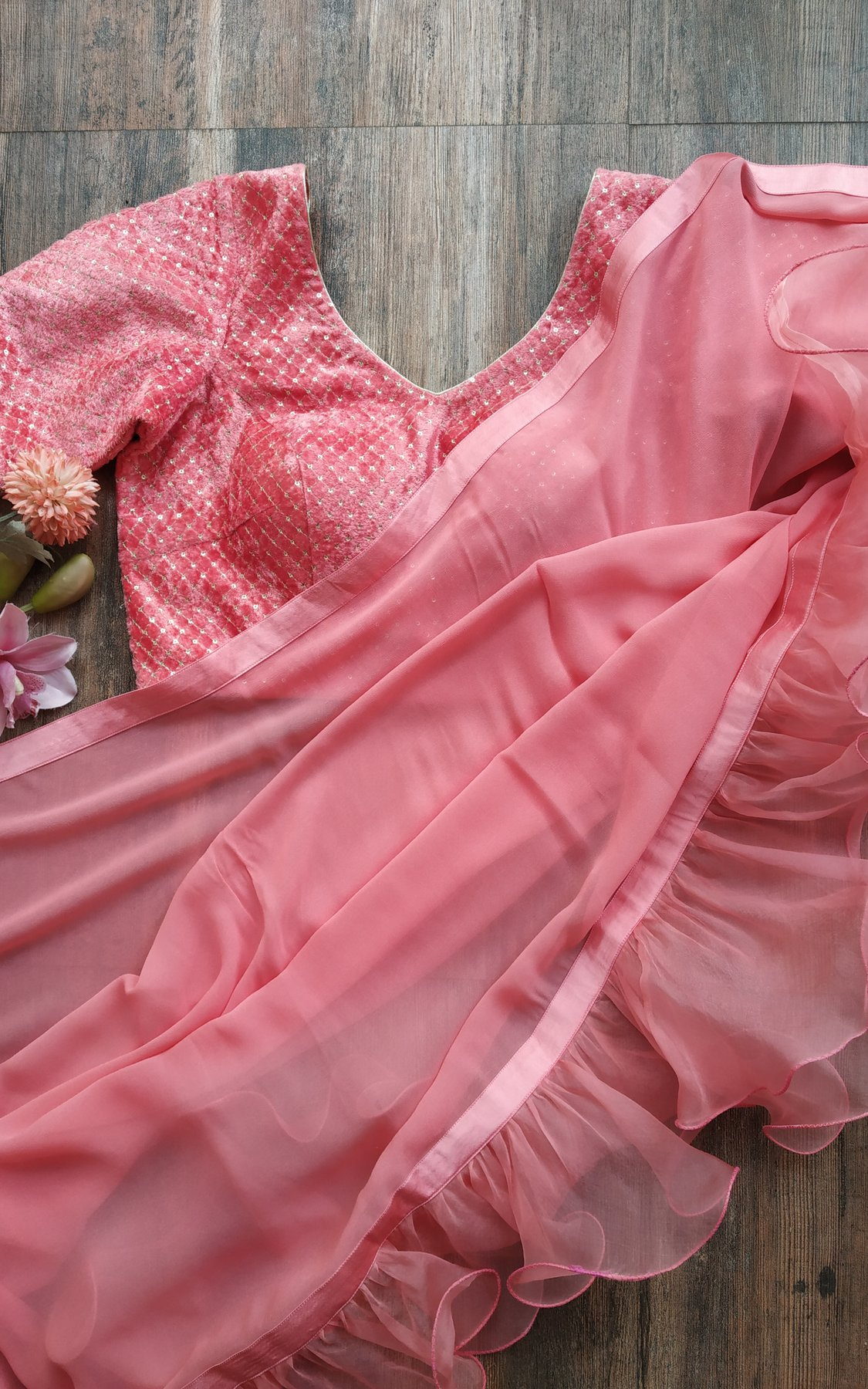 Rose Pink Ruffle Saree