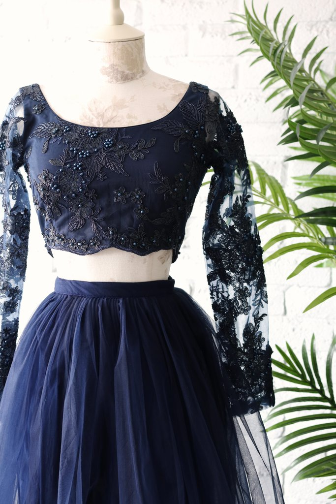 Navy Blue Long Sleeves Lehenga Blouse