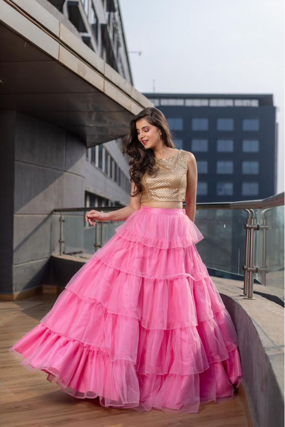 Pink Multi-Layered Lehenga