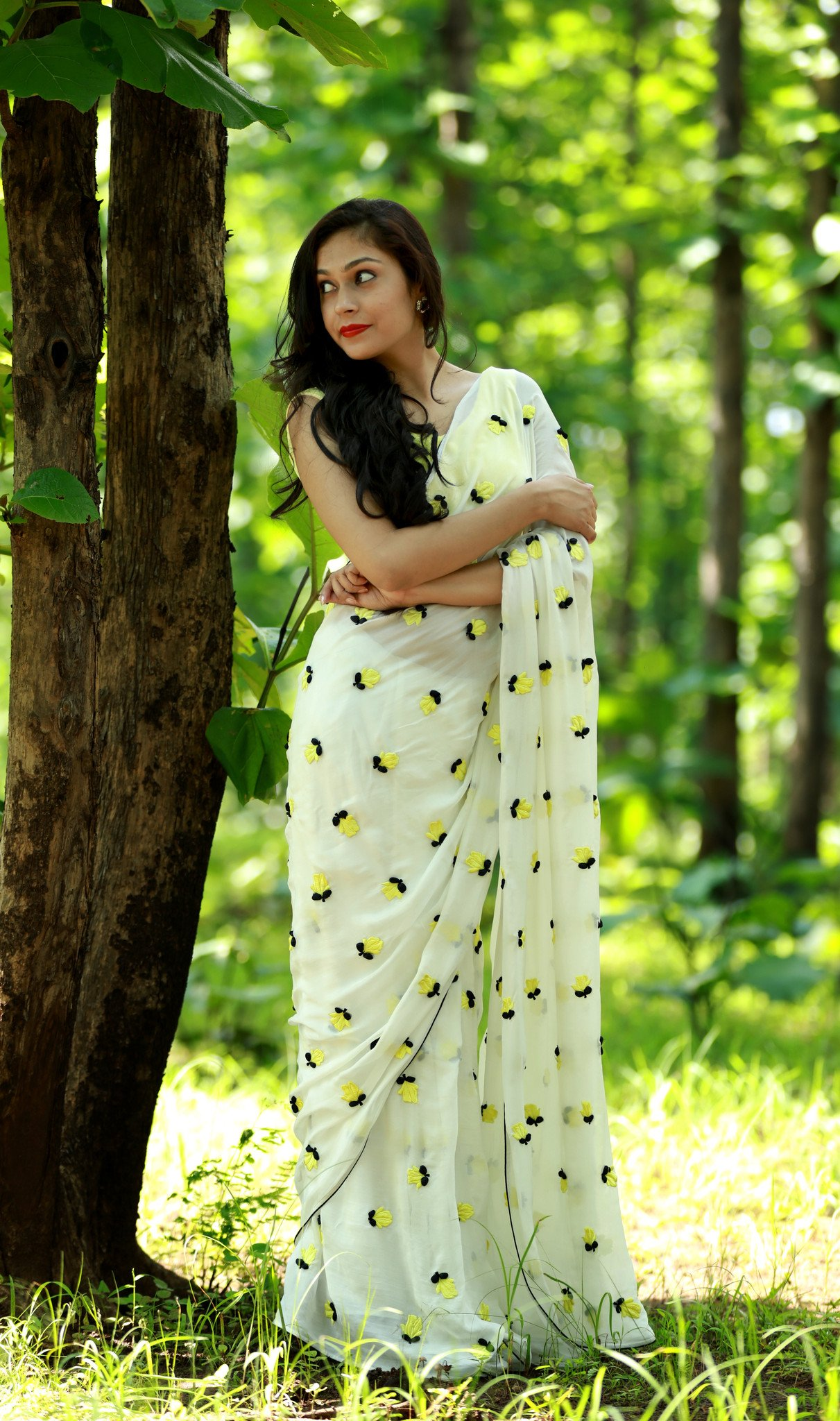 White Pure Silk Chiffon Saree