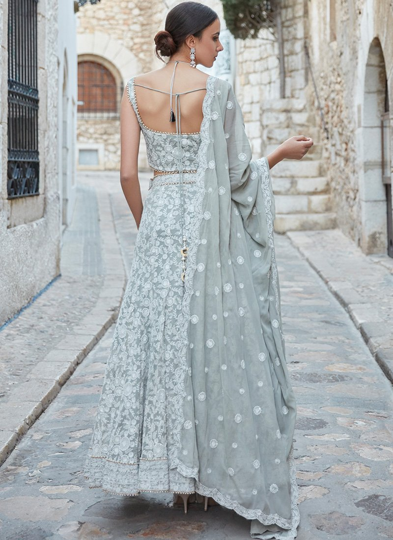 Light Grey Mermaid Lehenga