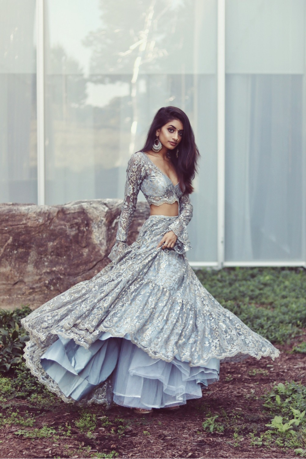 Blue Lace Crop Top Lehenga