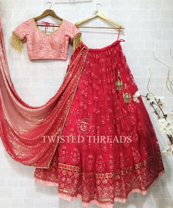 Crimson Red Twisted Threads Lehenga