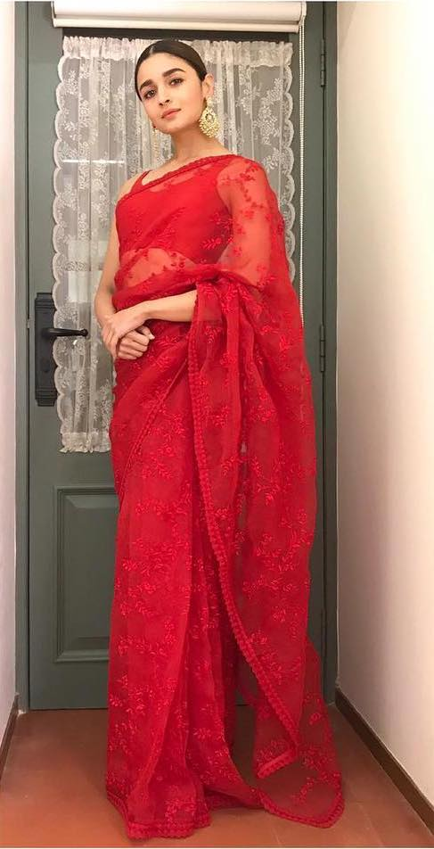 Alia Bhatt in Sabyasachi Red Saree