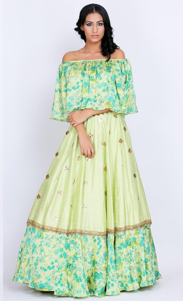 Green Satin Off Shoulder Lehenga