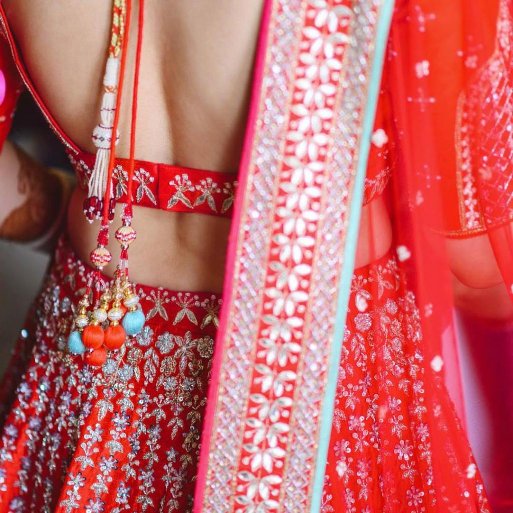 Red Gota Patti Anita Dongre Wedding Lehenga