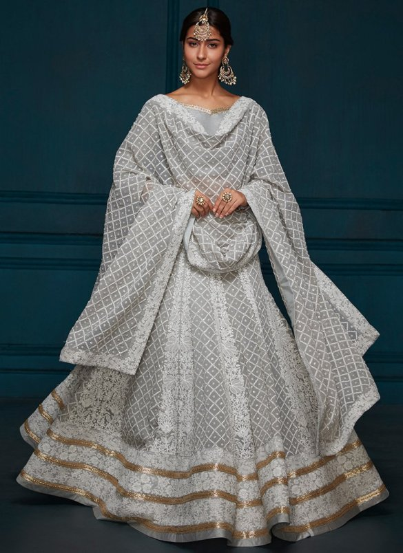 Grey Thread Embroidery Lehenga
