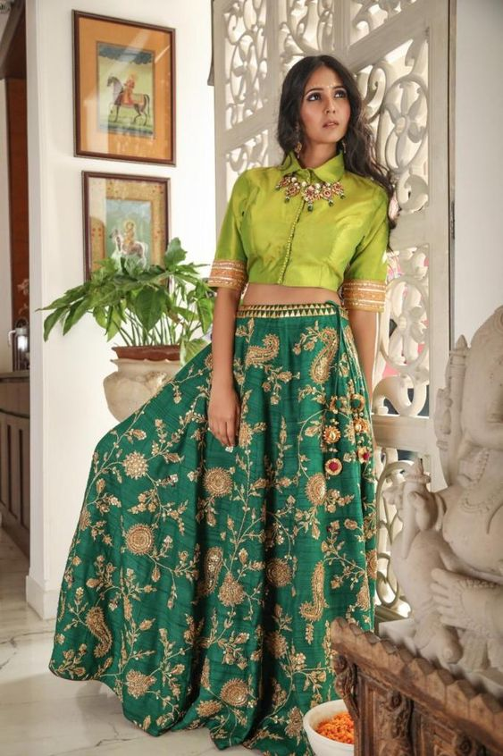 Green Embroidered Lehenga