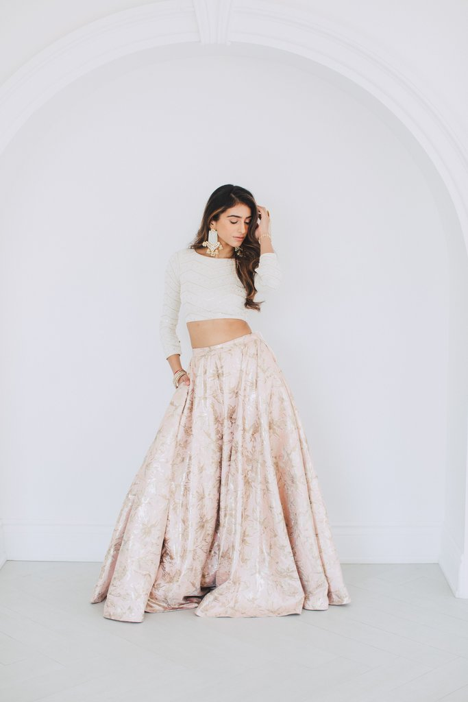 Blush Brocade Lehenga Skirt