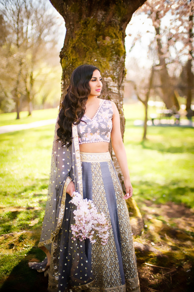Grey Pink Embroidered Lehenga