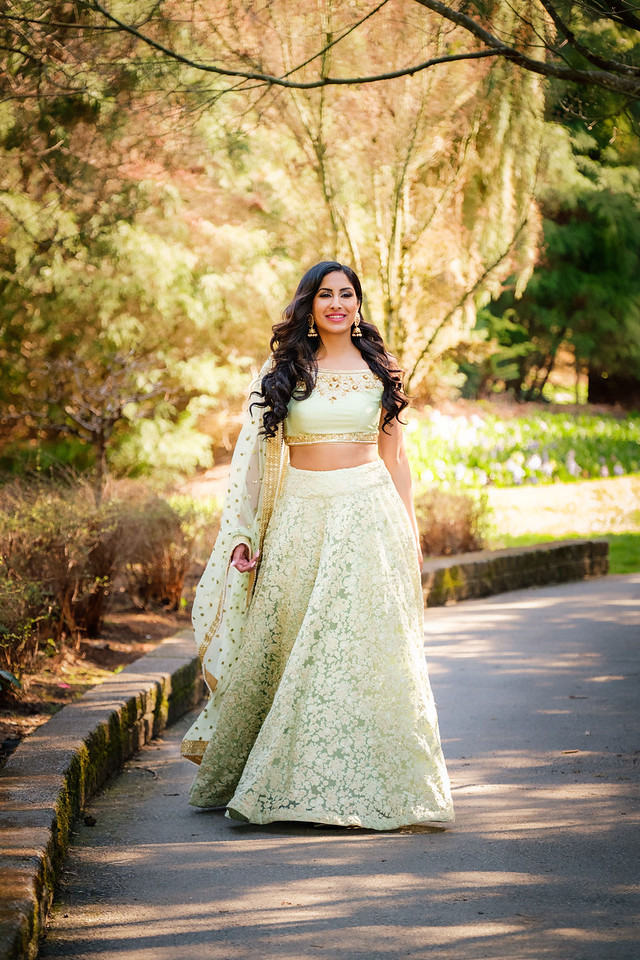 Pista Green Off Shoulder Lehenga
