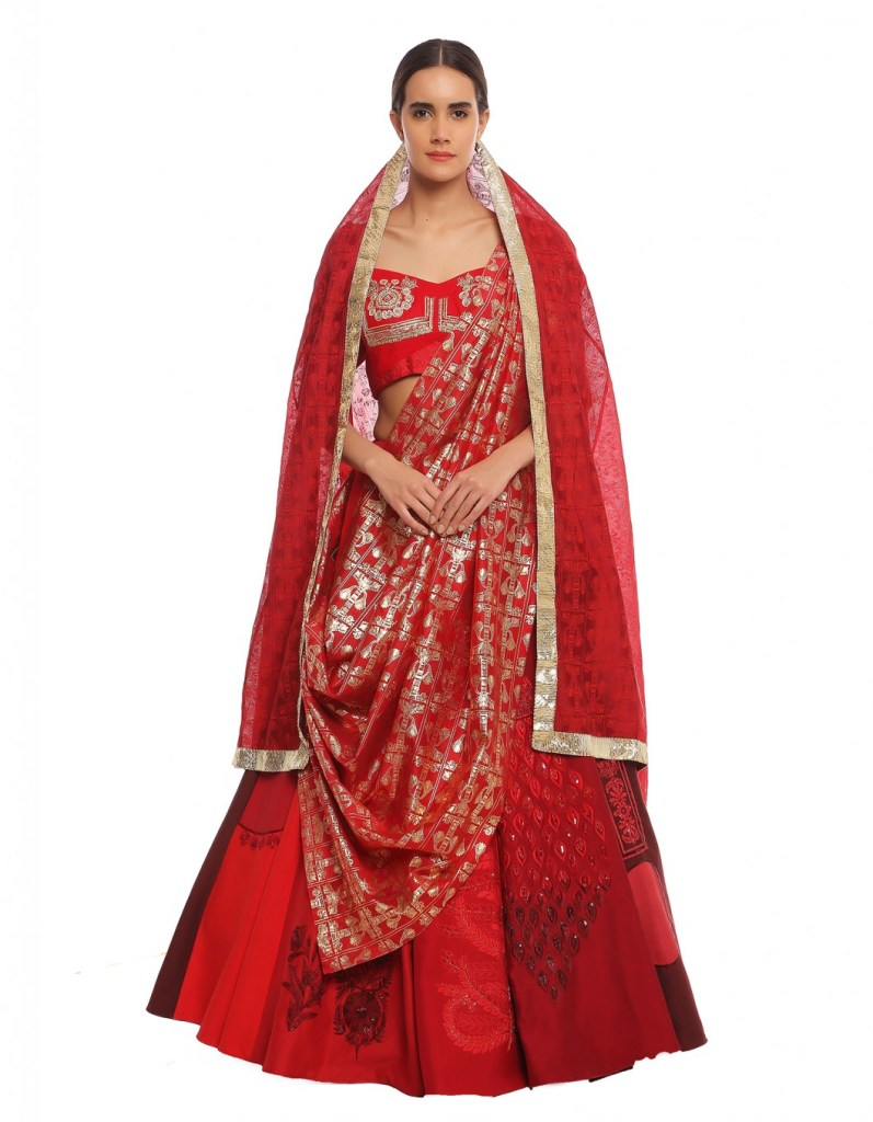 Masaba Scarlet Embroidered Red Lehenga