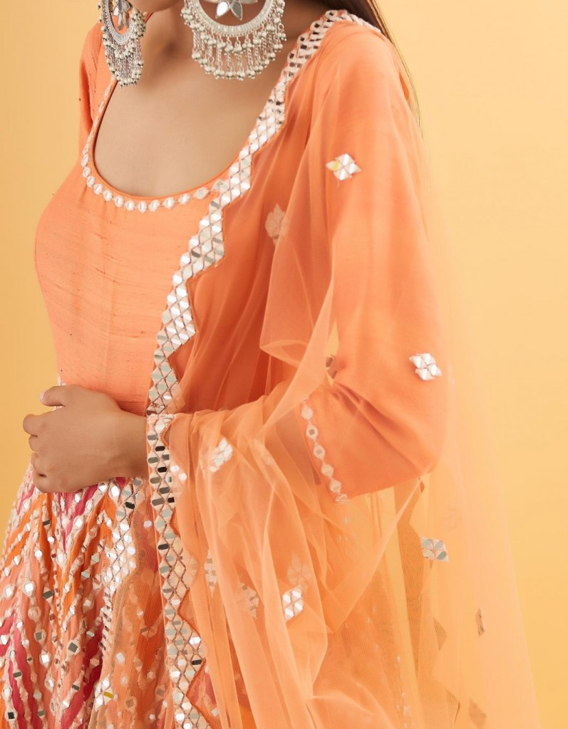 Orange with Dual Shades of Pink Embroidered Anarkali with Dupatta