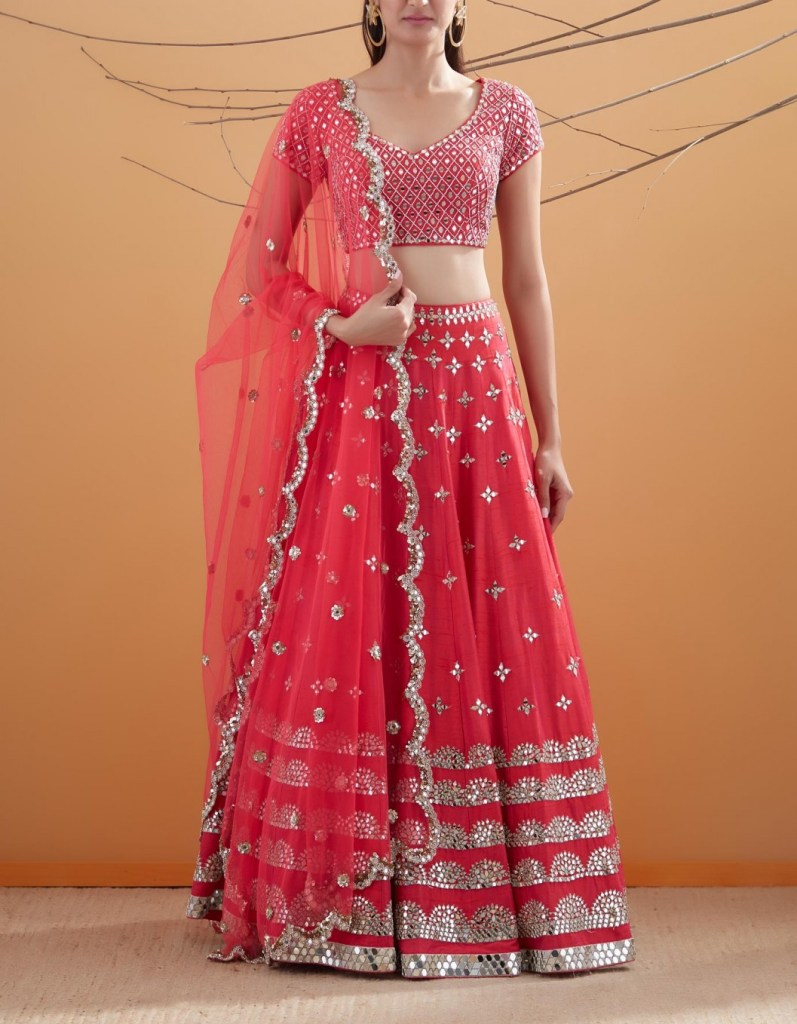 Dual Tone Red with Magenta Pink Lehenga
