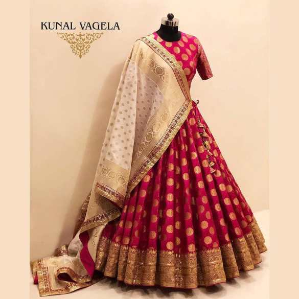 Red Banarasi Brocade Bridal Lehenga