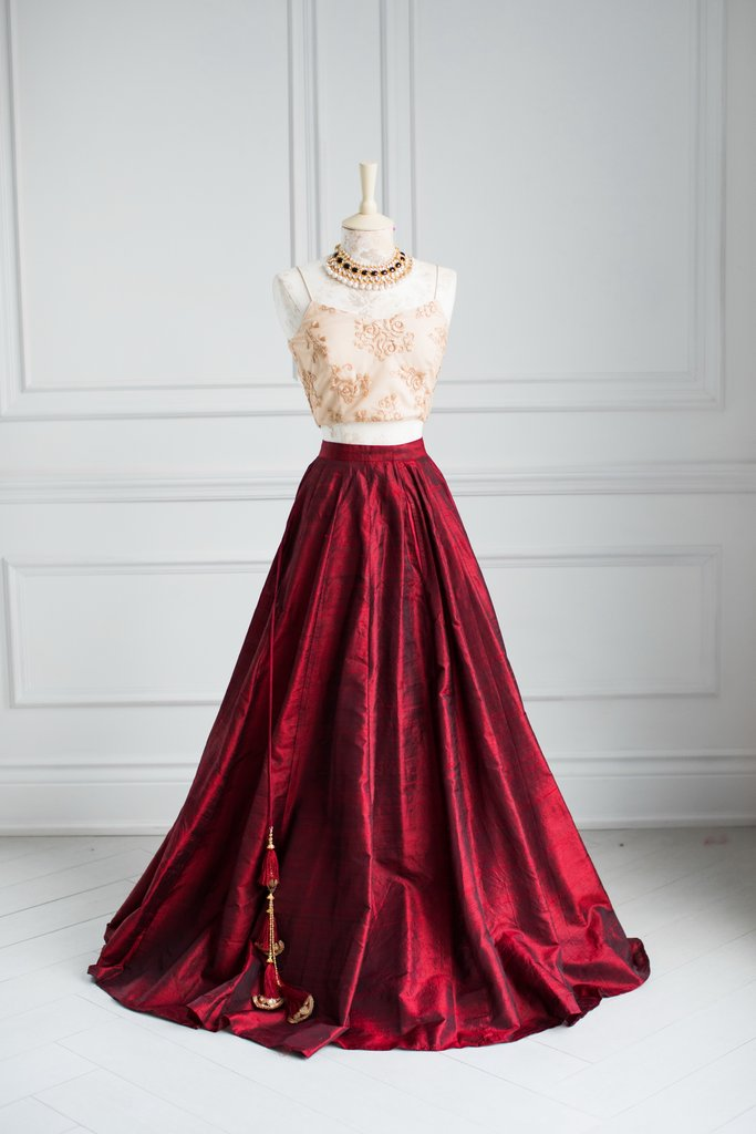 Maroon Raw Silk Lehenga Skirt