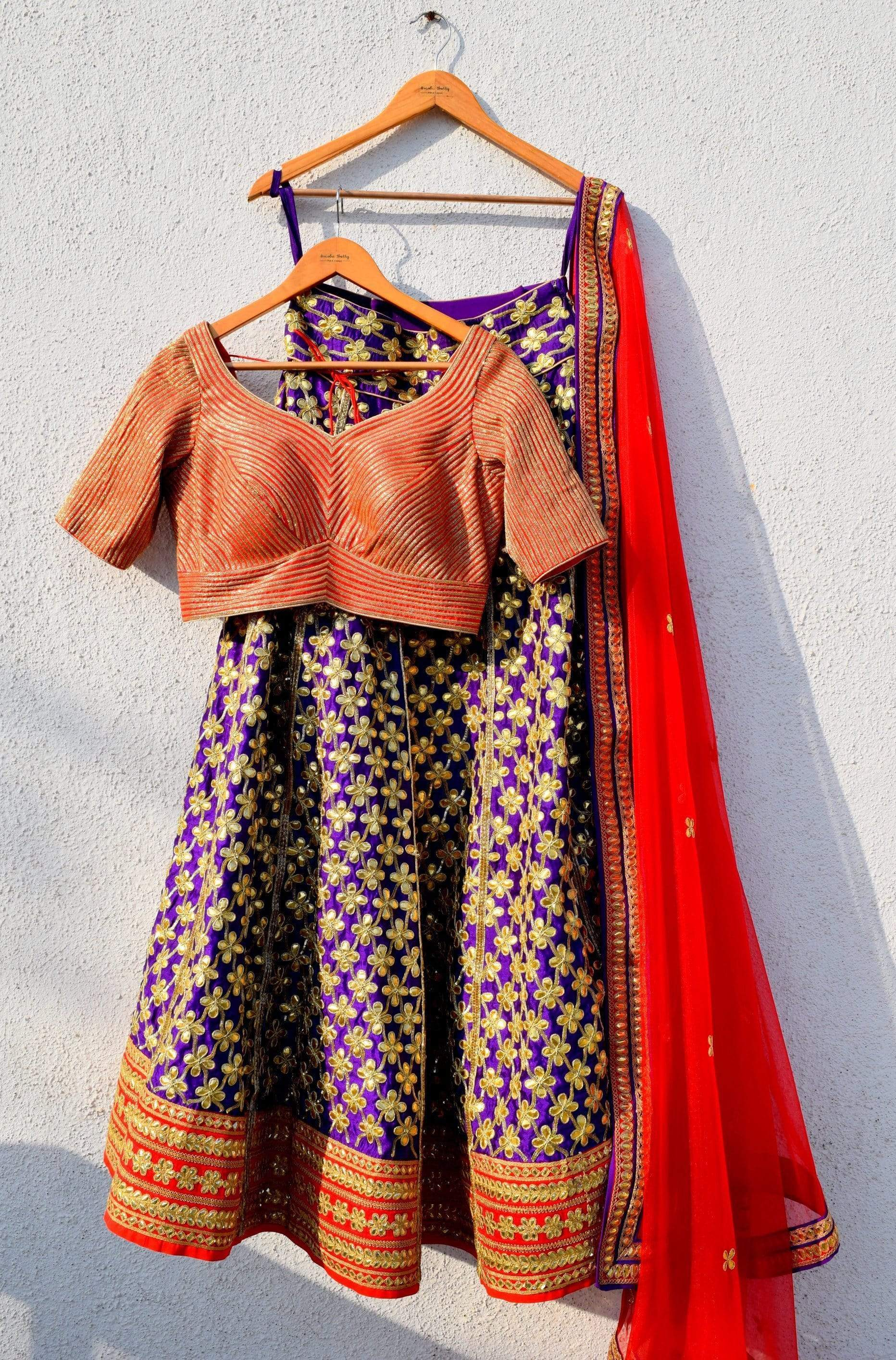Purple Gota Patti Bridal Lehenga