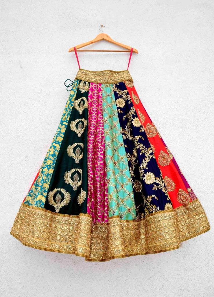 Multi Colour Embroidered Anisha Shetty Lehenga