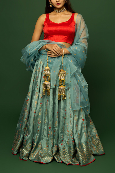 Powder Blue & Red Badlawork Lehenga