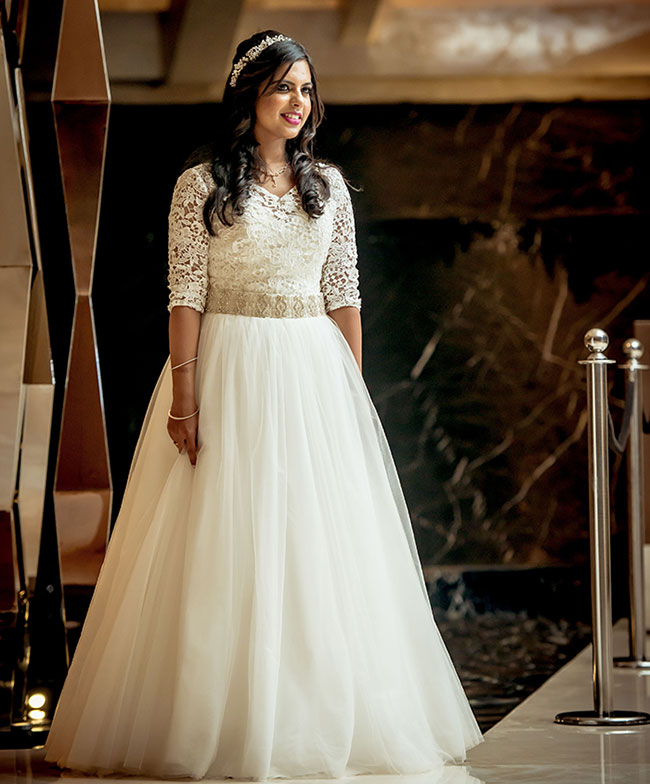 White wedding gown