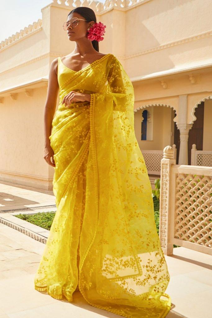lemon yellow sabyasachi saree
