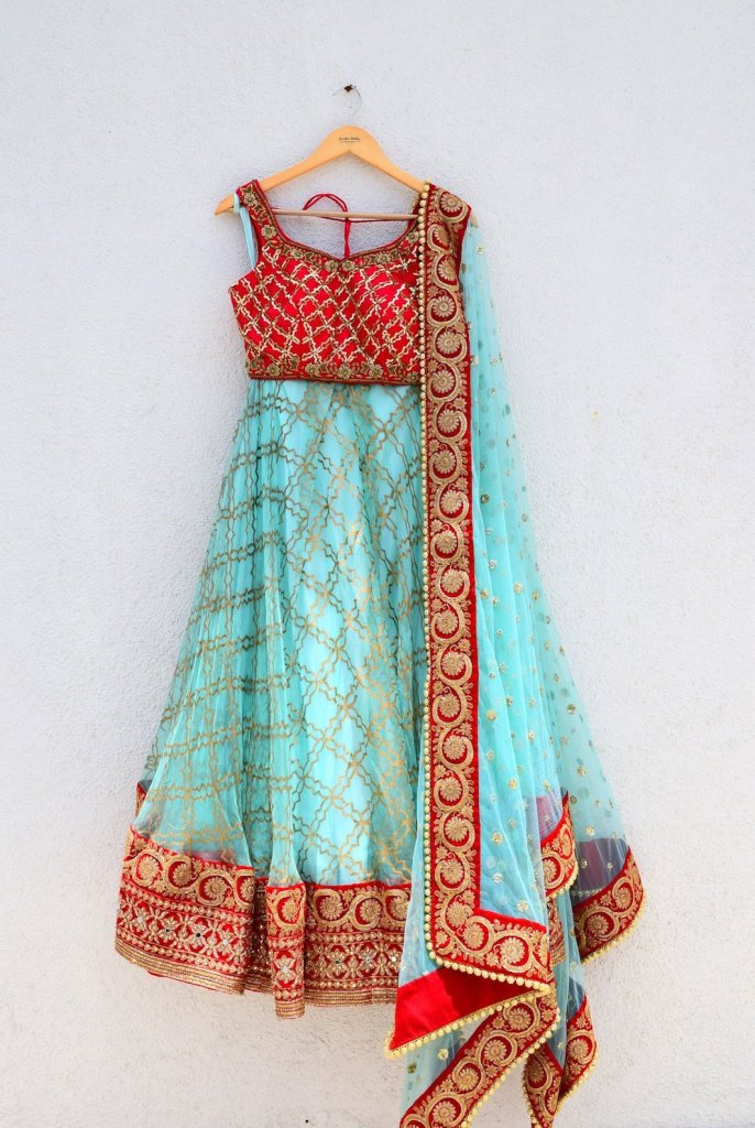 Blue Red Raw Silk Organza Lehenga