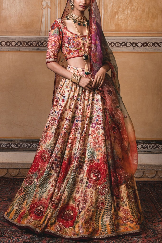 Yellow Floral Embroidered Lehenga Set