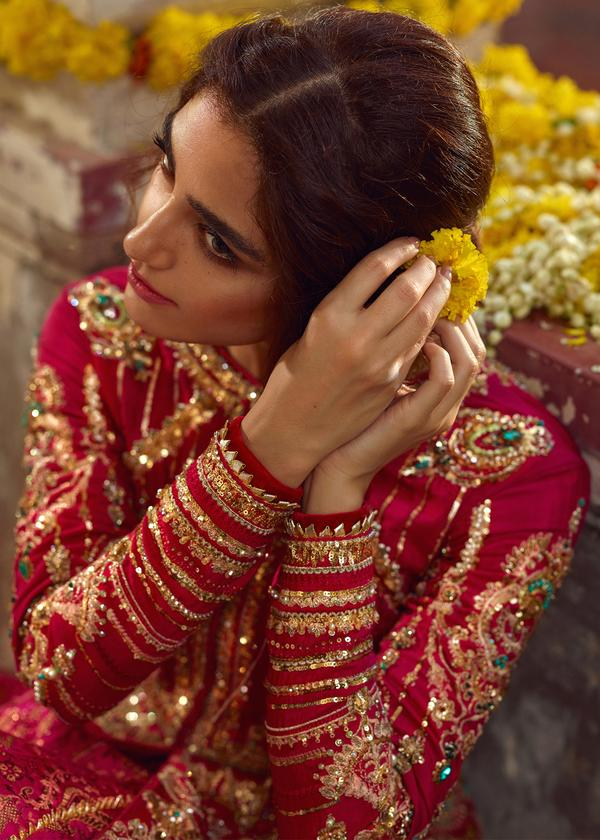 Red Bridal Brocade Lehenga