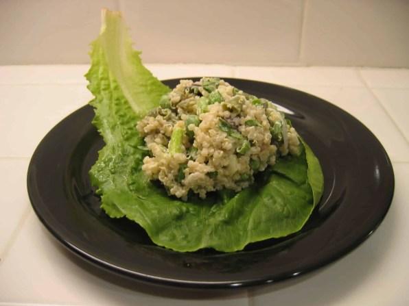 Served on a lettuce leaf