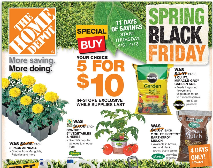 Home Depot Black Friday Spring Sale Save On Mulch Plants Charcoal