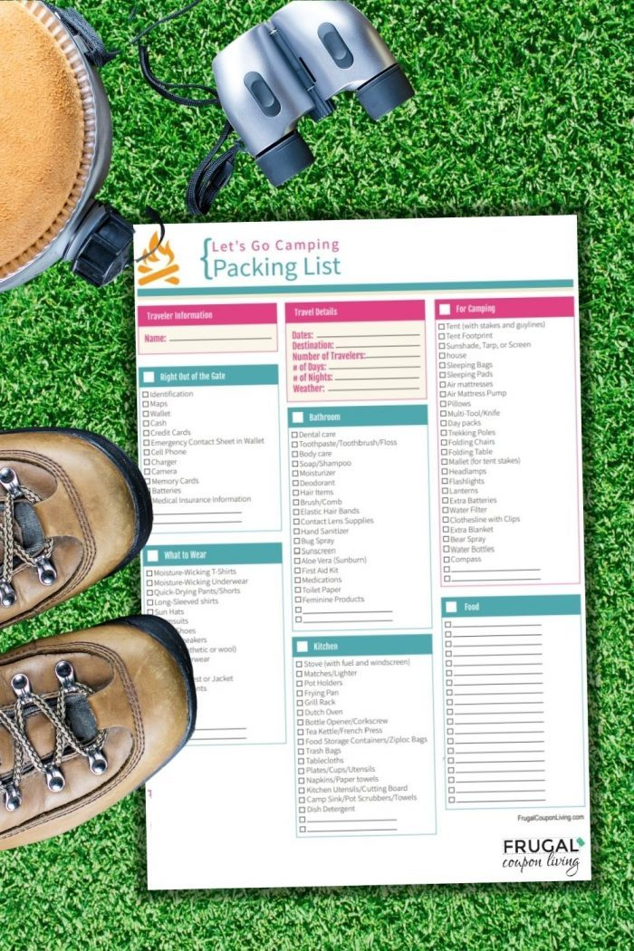free camping packing list printable