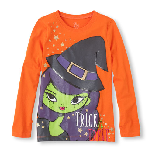1aHalloween Witch Girl Graphic Tee