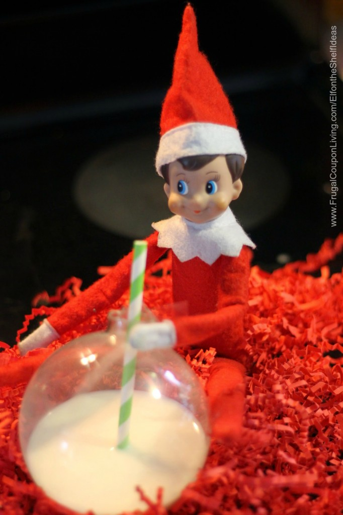 elf-drinks-from-an-ornament-elf-on-the-shelf-ideas-frugal-coupon-living