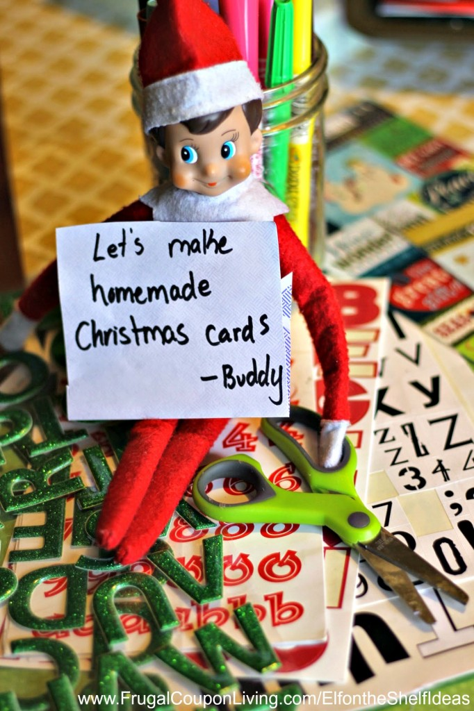 elf-makes-a-christmas-card-elf-on-the-shelf-ideas-frugal-coupon-living