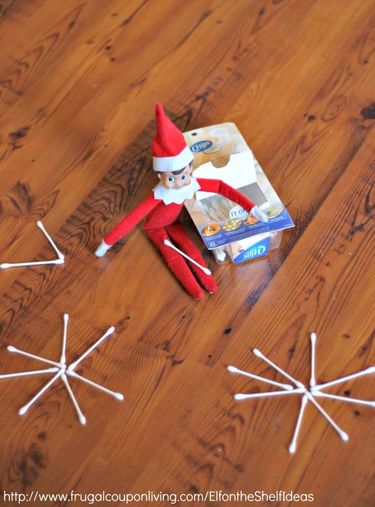 elf-on-the-shelf-ideas-qtip-snowflake-frugal-coupon-living